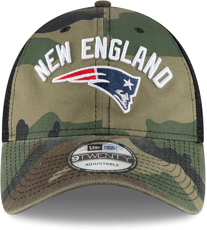 New Era New England Rugged Stack Camo Trucker 9Twenty Adjustable hat