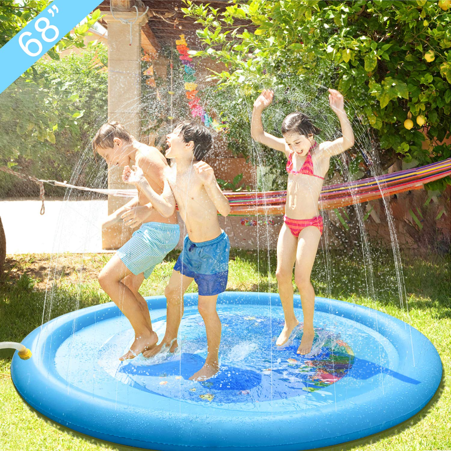 Sprinkler Pad Splash Play Mat 68'' Summer Fun Backyard Play Mat Kids Outdoor Party Sprinkler Toy Inflatable Outdoor Water Toys for Children Kids Babies Toddlers Boys Girls Blue by Aurho