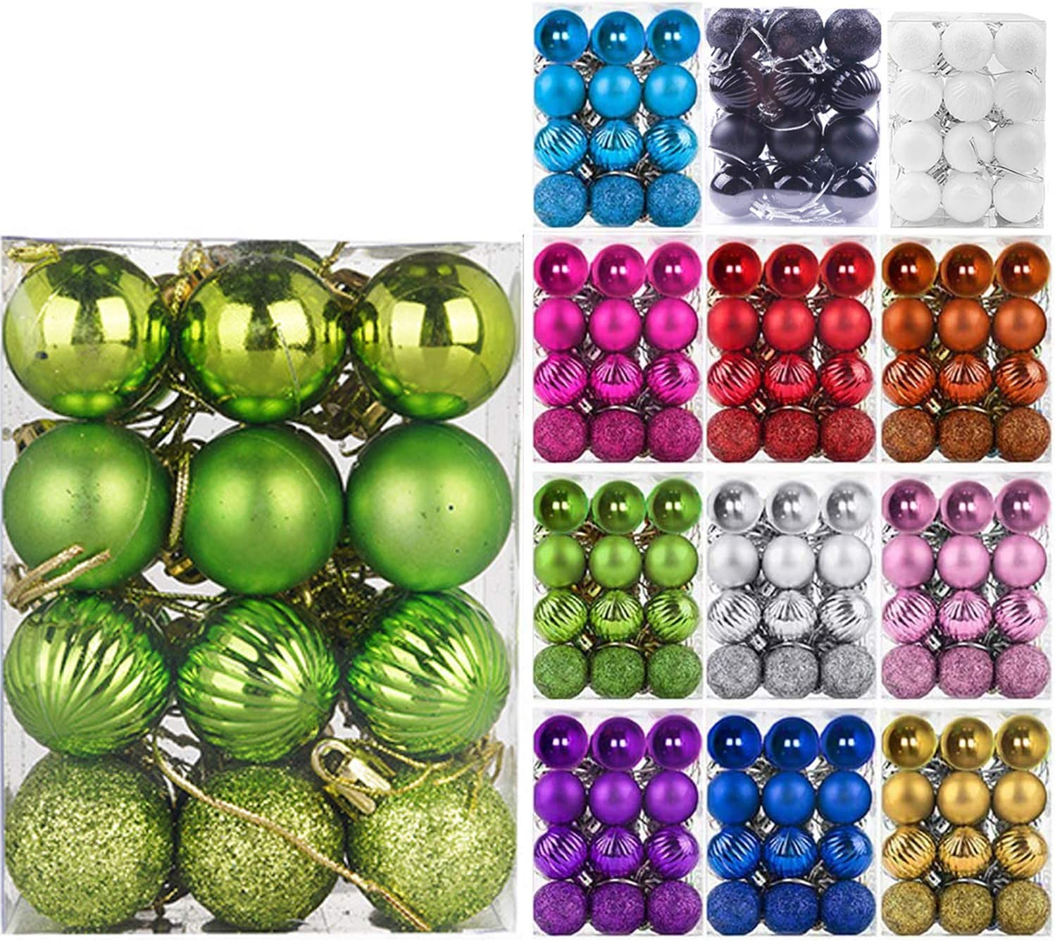 """Emopeak 24Pcs Christmas Balls Ornaments for Xmas Christmas Tree - 4 Style Shatterproof Christmas Tree Decorations Hanging Ball for Holiday Wedding Party Decoration (Grass Green, 1.3""""/3.2CM)"""
