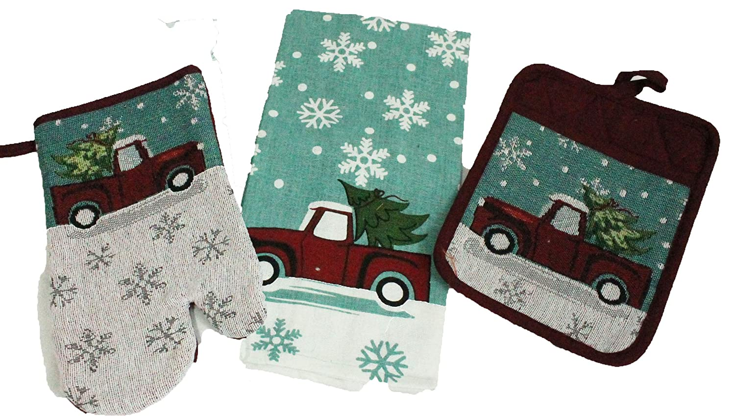 Twisted Anchor Trading Co 3 pc Vintage Truck Merry Christmas Kitchen Decor Set - Matching Kitchen Towel, Pot Holder, and Oven Mitt - Comes in an Organza Bag so It's Ready for Giving!