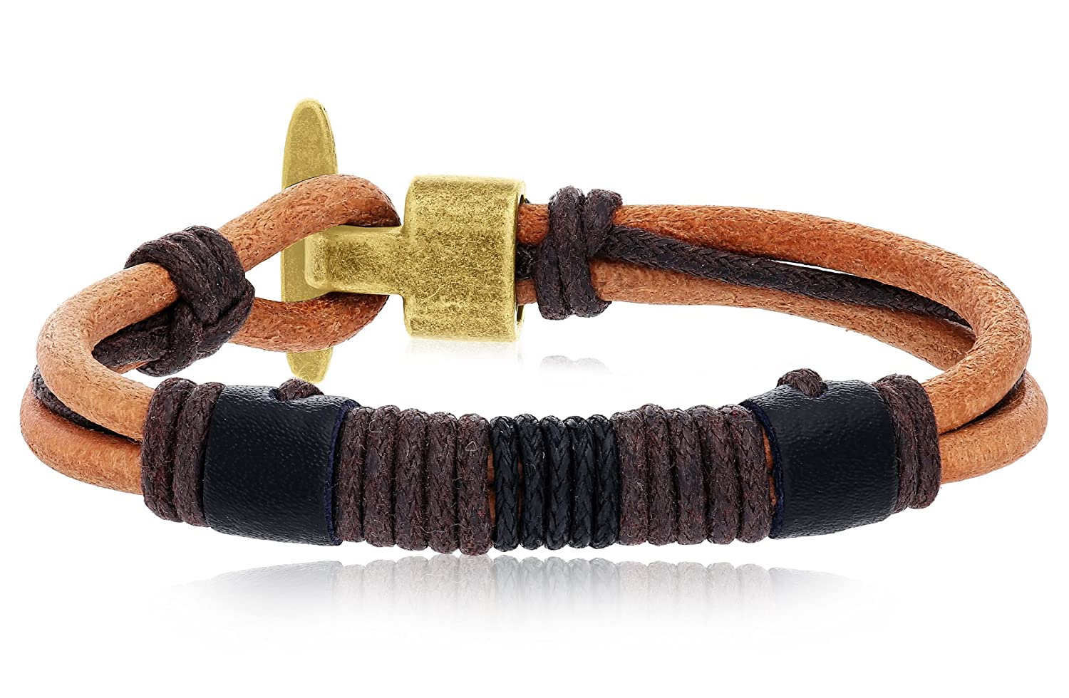 with AlloyClasp Regetta Jewelry Light Brown Leather Rope Wrist Bracelet Unisex and Casual By Regetta Jewelry