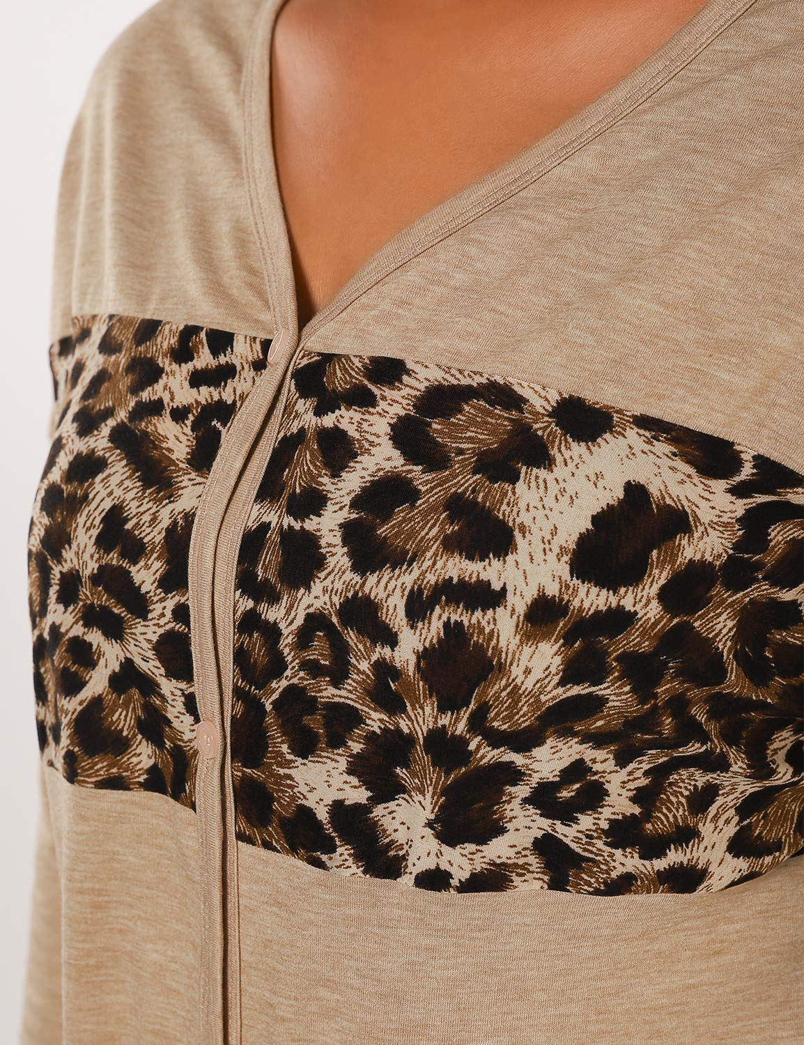 Blooming Jelly Button Down Tie Shirt Long Sleeve V Neck Blouse Casual Leopard Top (Large, Khaki)