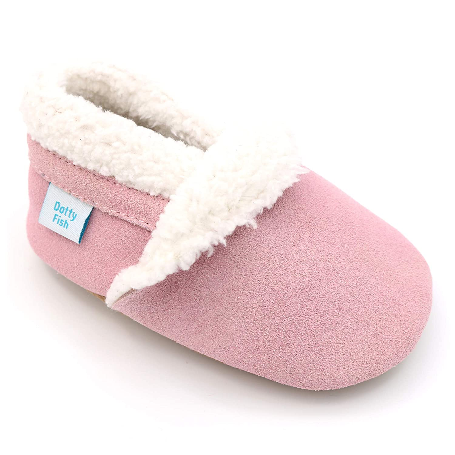 99fcdb141827 Dotty Fish Suede Baby Slippers. Fleece Lined. 0-6 Months to 4-5 Years.  Navy