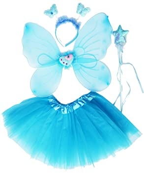 844a25134 Fun Play Fairy Wings – Butterfly Fairy Wings, Tutu, Magic Wand and Headband  set