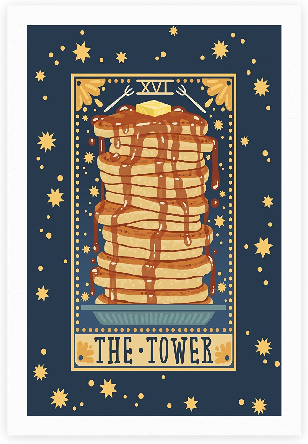LookHUMAN Tarot Card: The Tower (of Pancakes) White 11 x 14 Inch Giclee Art Print Poster