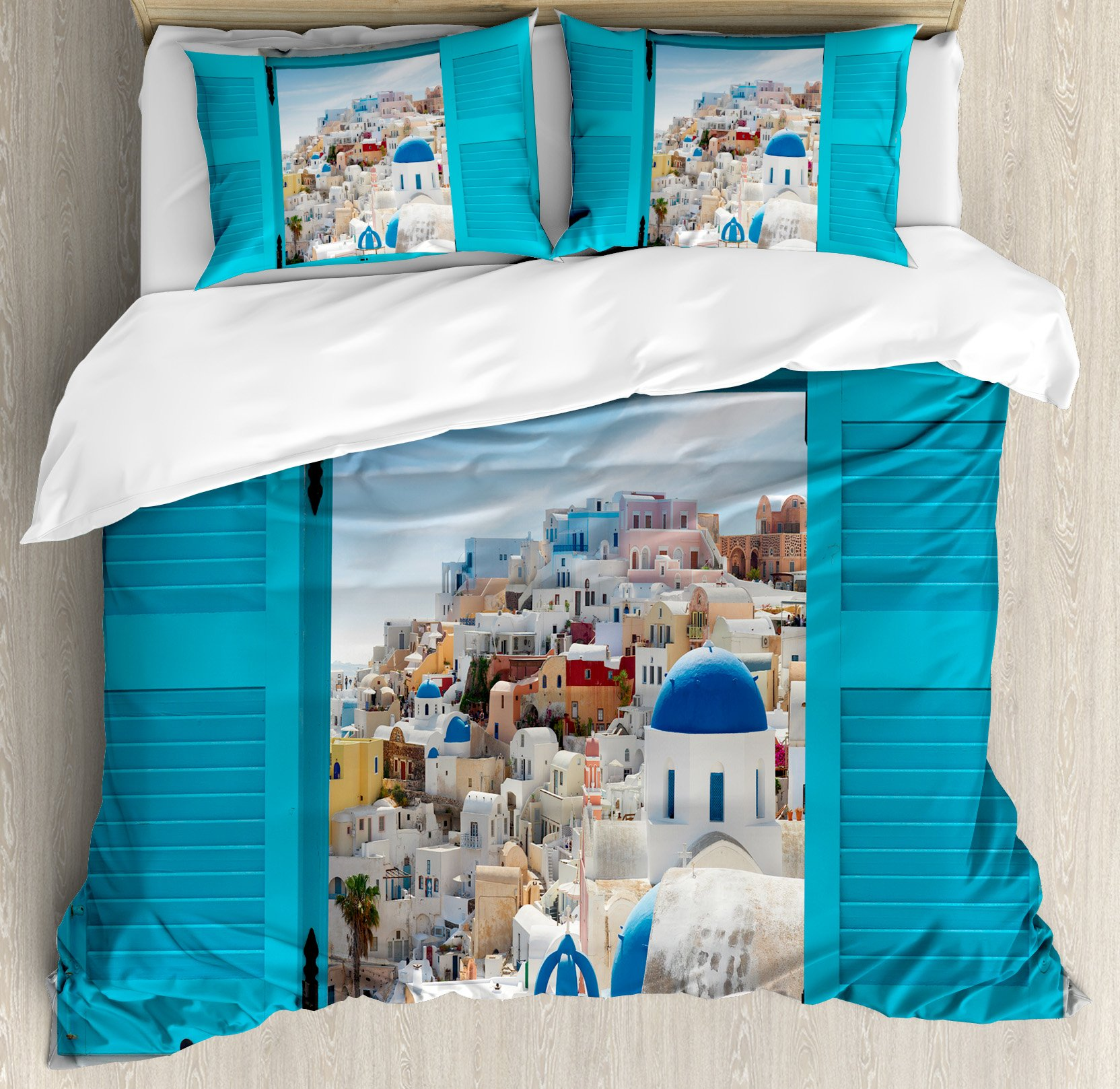 Cityscape Duvet Cover Set King Size by Ambesonne, Old Shutter Window with View of Traditional Greek Village Heritage Culture Deco, Decorative 3 Piece Bedding Set with 2 Pillow Shams, Multi