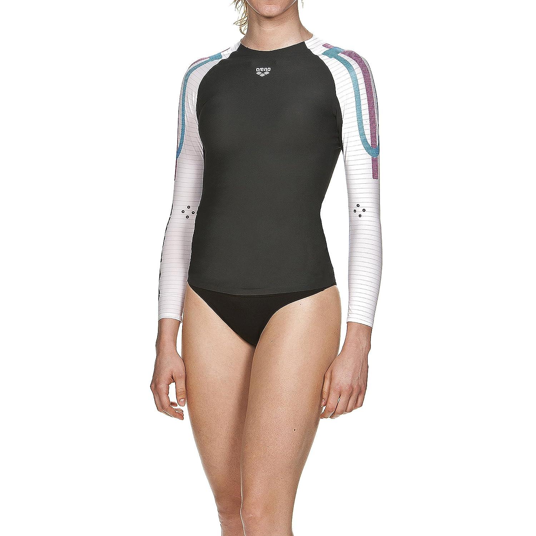 Arena Damen Schwimm Kompressionsshirt Carbon Langarm (Atmungsaktiv, Carbon-Material, Durchblutungsfördernd)