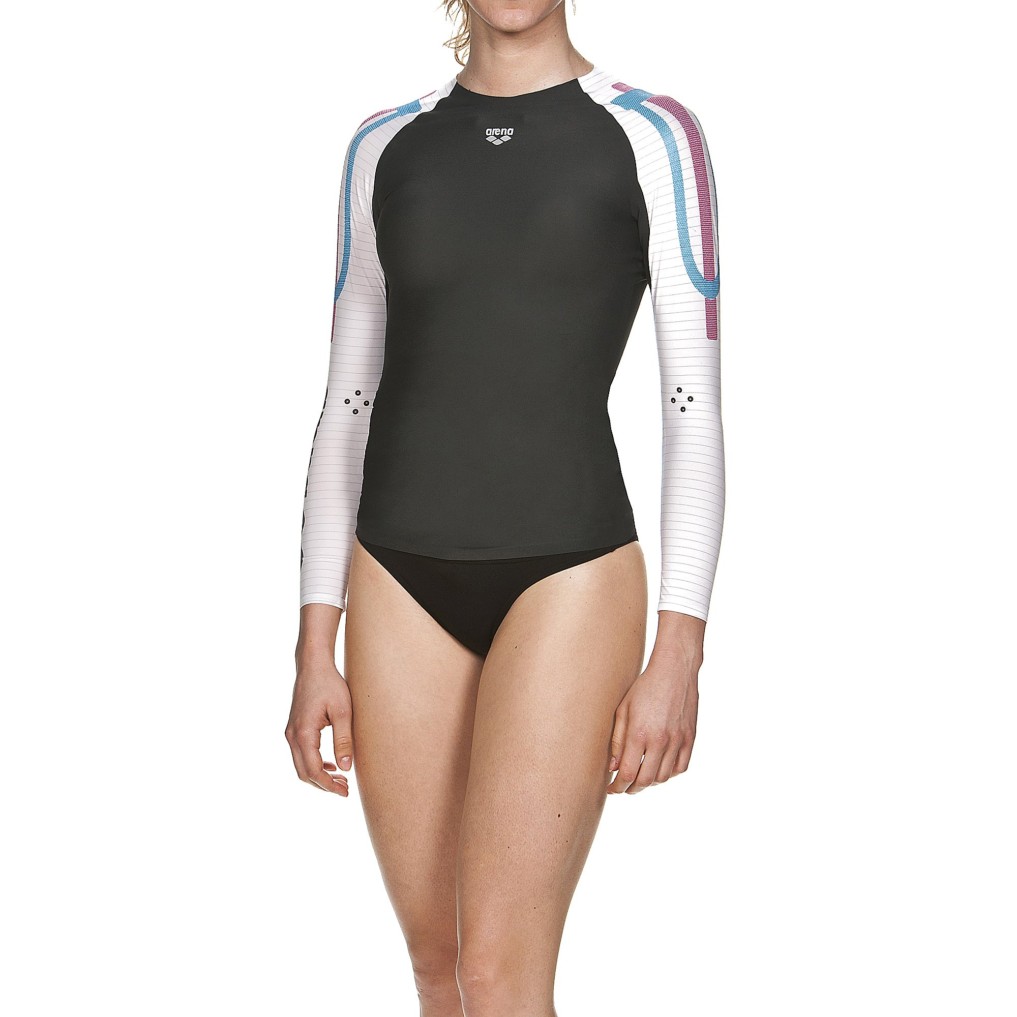 arena 1D141 Women's Long Sleeve Top Powerskin Carbon Compression, Dark Grey/White - XS