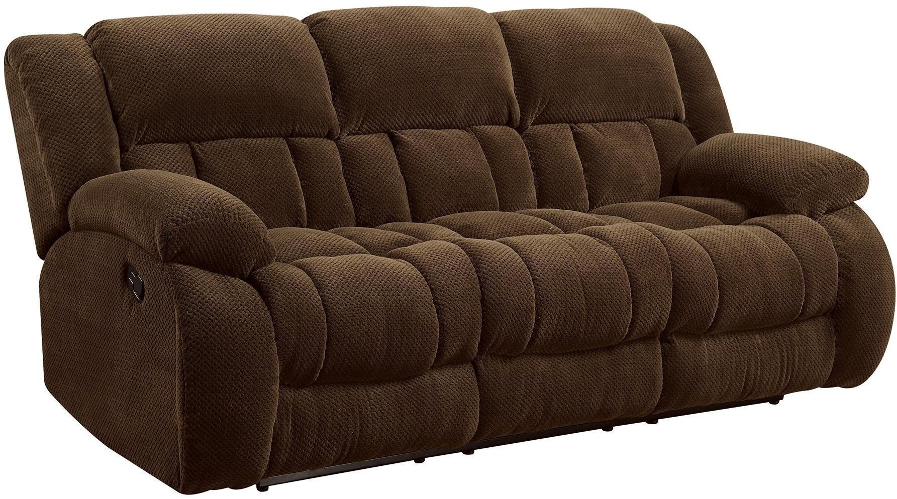 Coaster Home Furnishings Weissman Pillow Padded Motion Sofa Chocolate by Coaster Home Furnishings