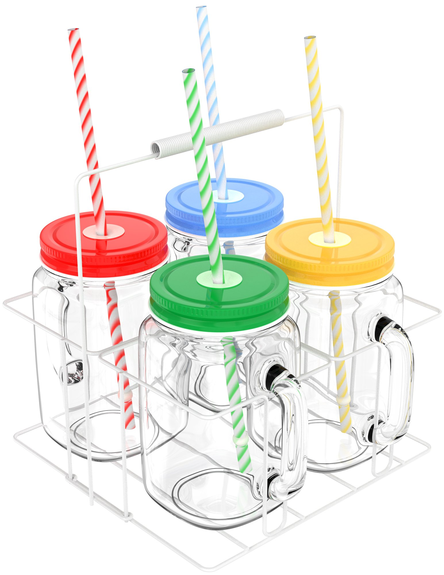 Vremi 16 oz Mason Jars with Handles Lids and Straws - 4 Piece Wide Mouth Mason Jar Mugs Set with Colored Metal Lids and Holder - Decorative Clear Glass Tumblers Set with Mason Jar Accessories by Vremi