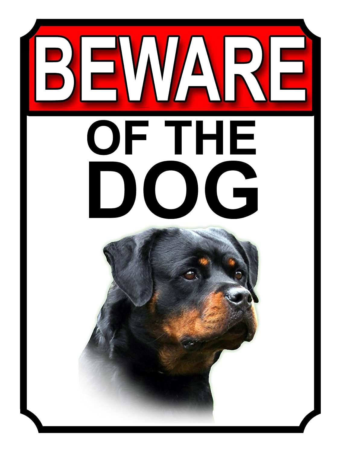 SHAWPRINT BEWARE OF THE DOG METAL GATE SIGN ROTTWEILER 200MM X 150MM (1147H1)