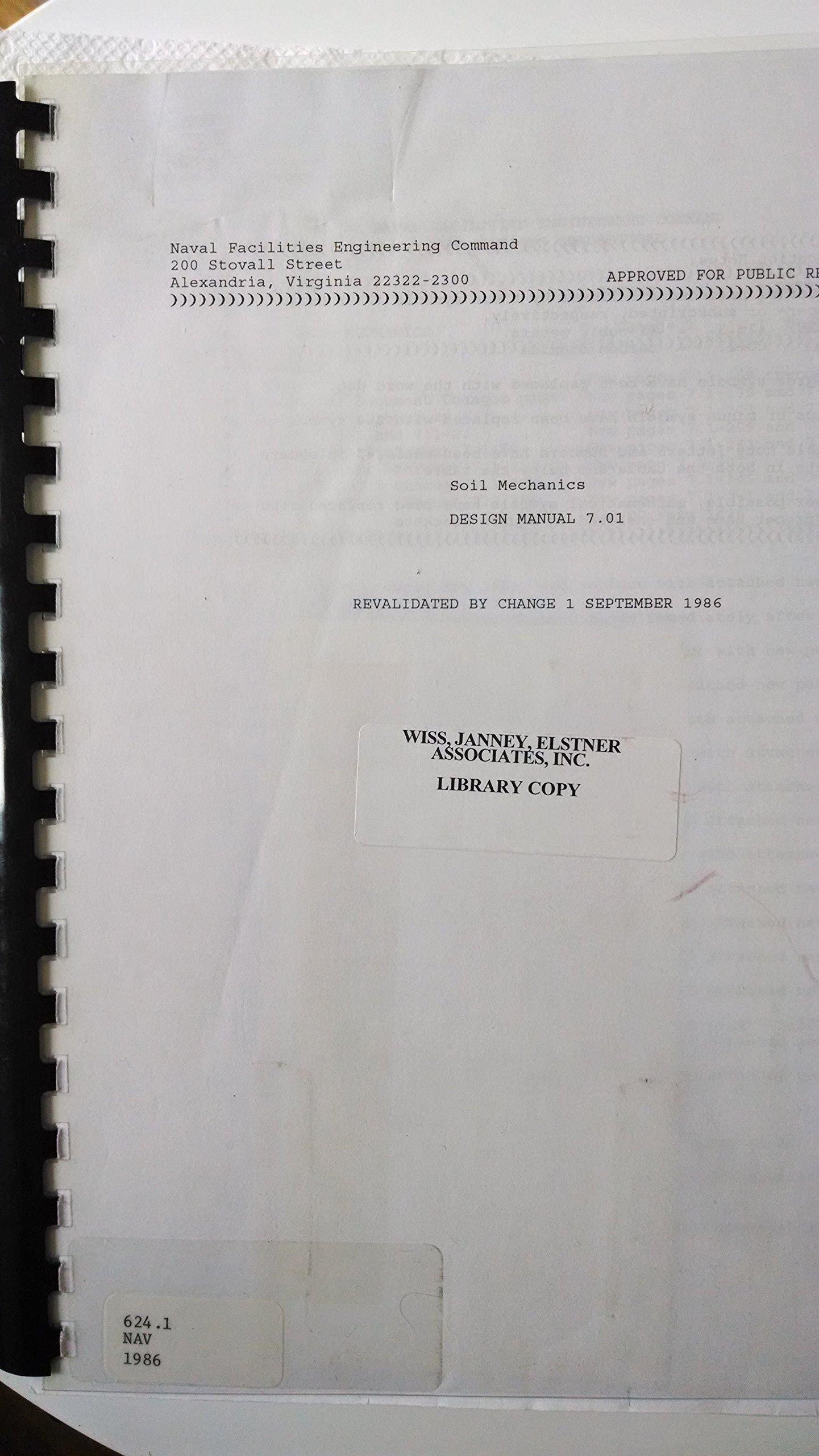Soil Mechanics Design Manual 7.01 (Naval Facilities Engineering Command):  J. P. Jones Jr.: Amazon.com: Books