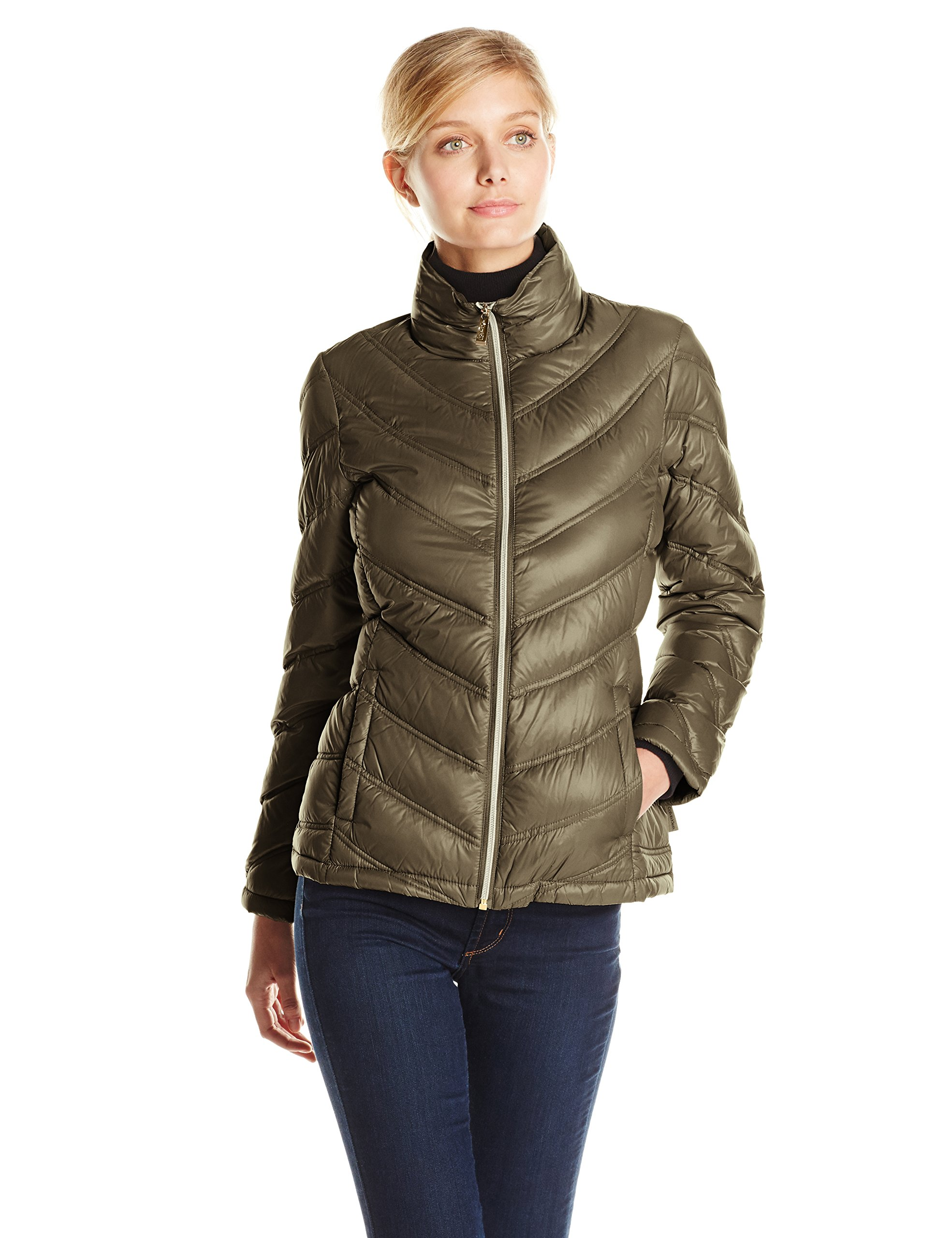 Calvin Klein Women's Lightweight Chevron Packable Jacket, Loden, X-Large by Calvin Klein