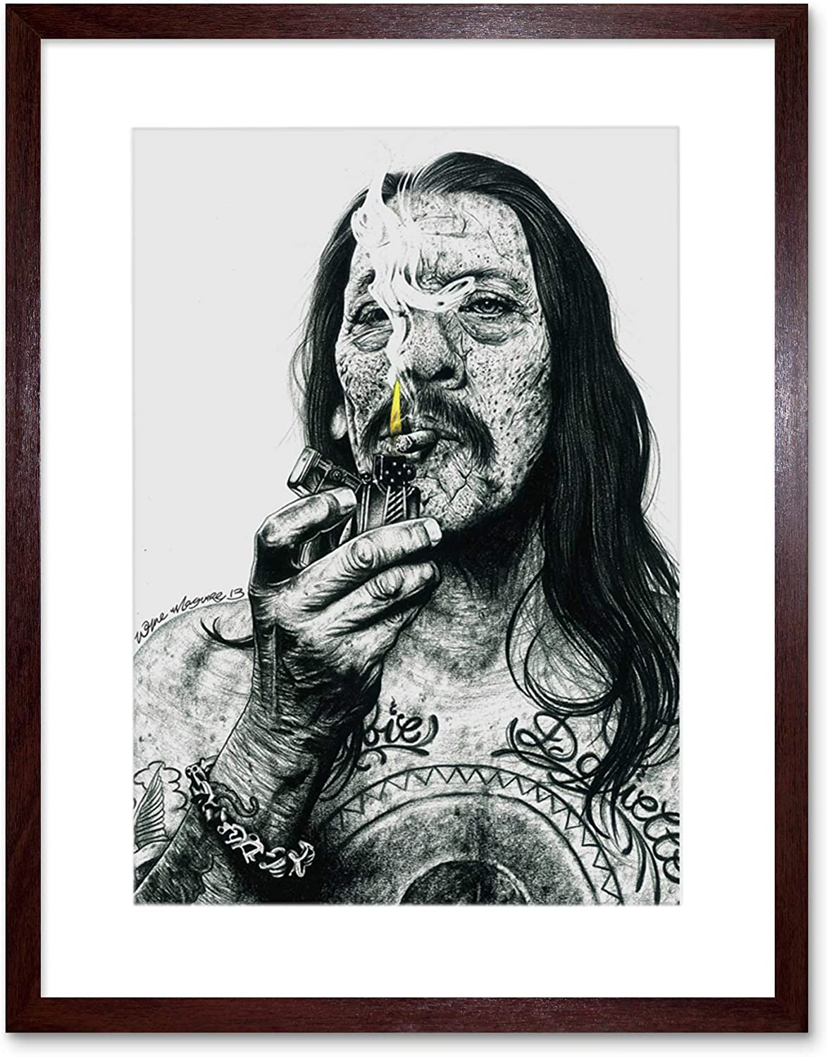 DANNY TREJO INKED IKONS  FRAMED ART PRINT BY W.MAGUIRE F12X10618