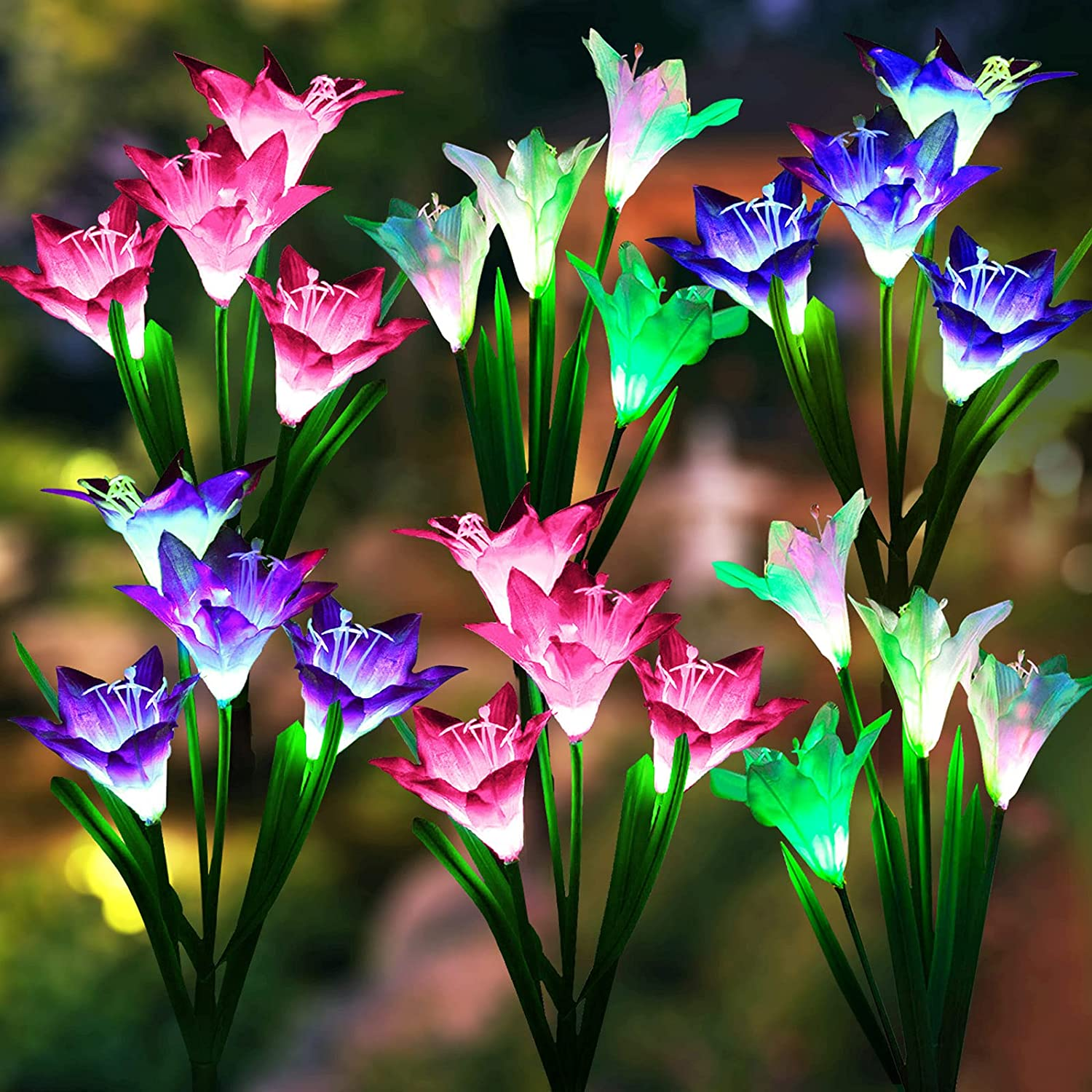 Solar Lights Outdoor Decorative, LETMY 6 Pack Upgraded Solar Garden Lights with 24 Lily Flowers, Waterproof Color Changing Outdoor Lights Solar Powered Flower Lights for Patio Yard Garden Decorations