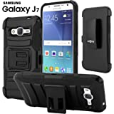 Galaxy J7 Case, CellJoy [Ultra Rugged Hybrid] {Black} Samsung J700 Dual Layer TPU **ShockProof** Reinforced Bumper Protection Cover **Kickstand** [Locking Swivel Belt Clip Holster Combo]