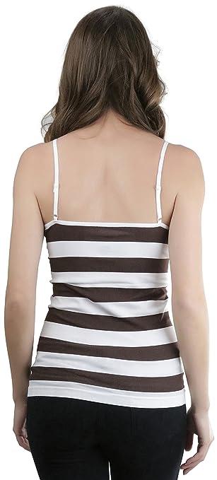 73a58e1c96 ToBeInStyle Women s Spaghetti Strap Striped Cami - White Brown - One Size  at Amazon Women s Clothing store