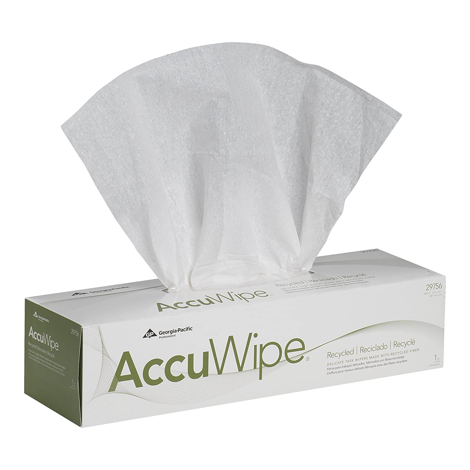 AccuWipe 29756/03 White Recycled 1-Ply Delicate Task Wiper, 16.7