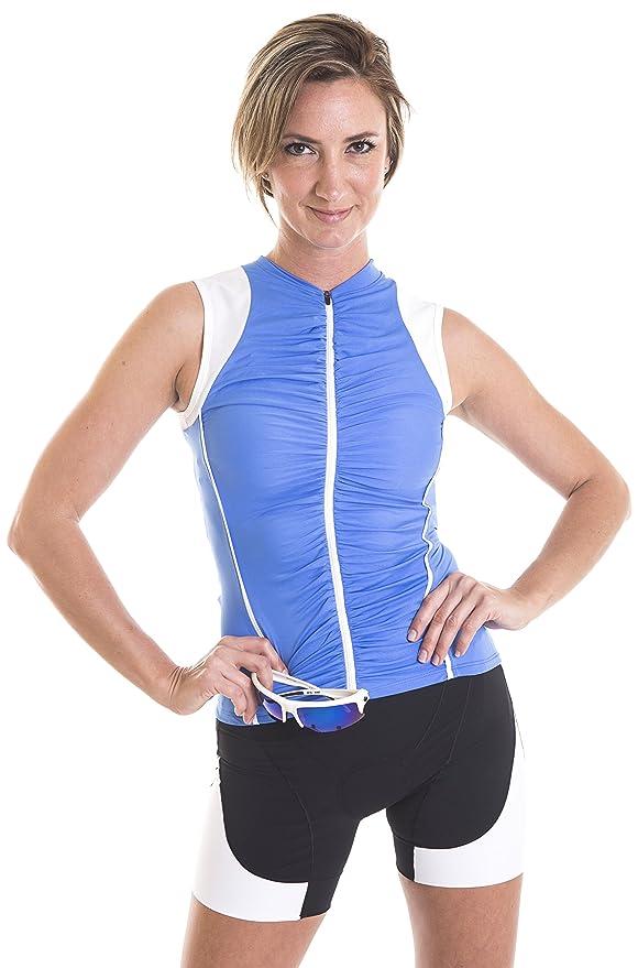 Alii Lifestyle Women s Beatriz Sleeveless Bike Jersey with Ruched Front   Amazon.co.uk  Sports   Outdoors 5c05b5daf
