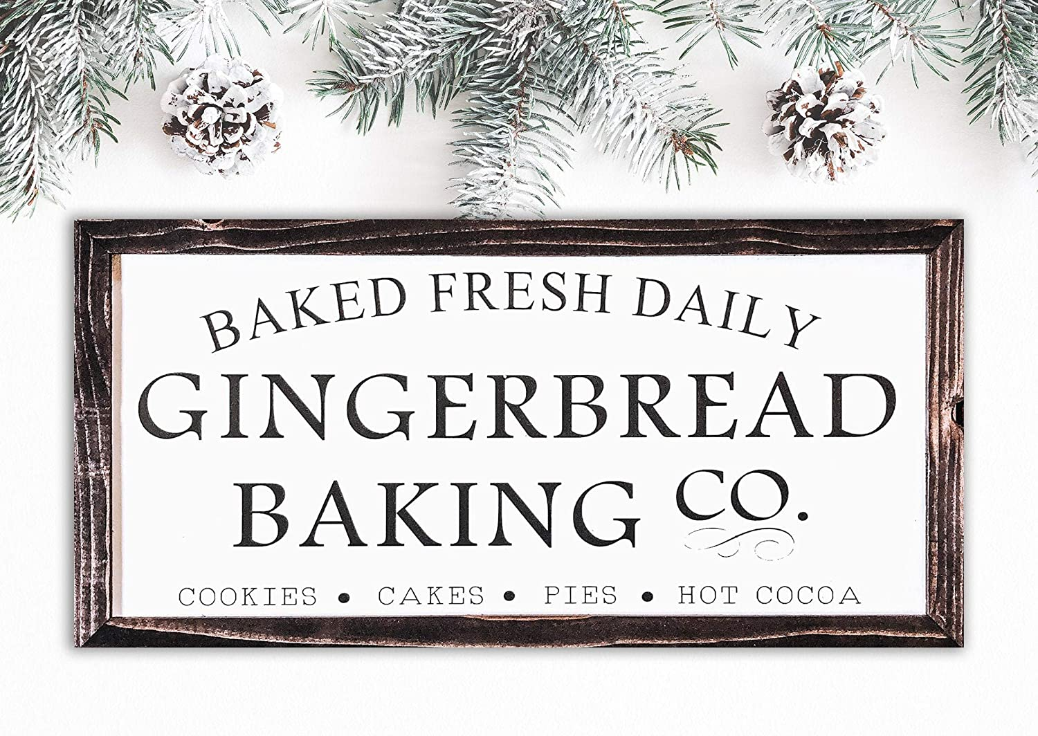 RDse5s5 Gingerbread Baking Sign Farmhouse Christmas Sign Holiday Kitchen Decor Rustic Christmas Decor