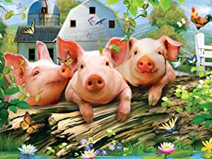 MasterPieces Green Acres Three 'Lil Pigs Farm Scene Large EZ Grip Linen Jigsaw Puzzle by Howard Robinson, 300-Piece