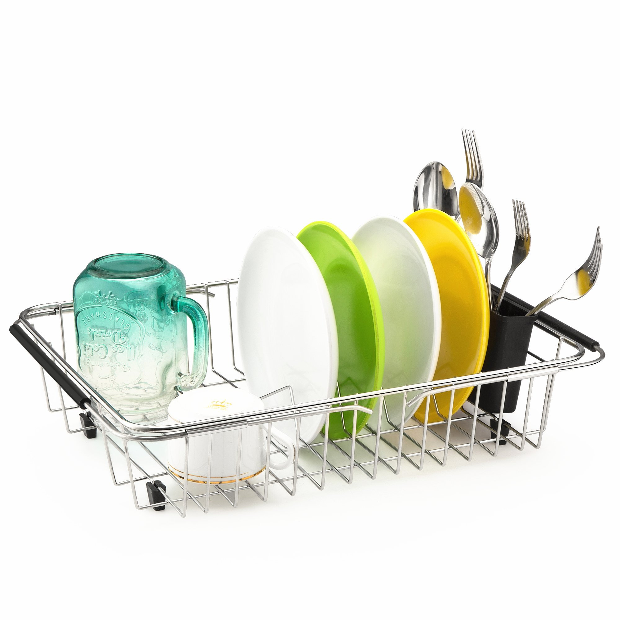 iPEGTOP Adjustable Dish Drying Rack, Over the Sink, In Sink Or On Counter Dish Drainer with Removable Utensil Holder, Rustproof Stainless Steel