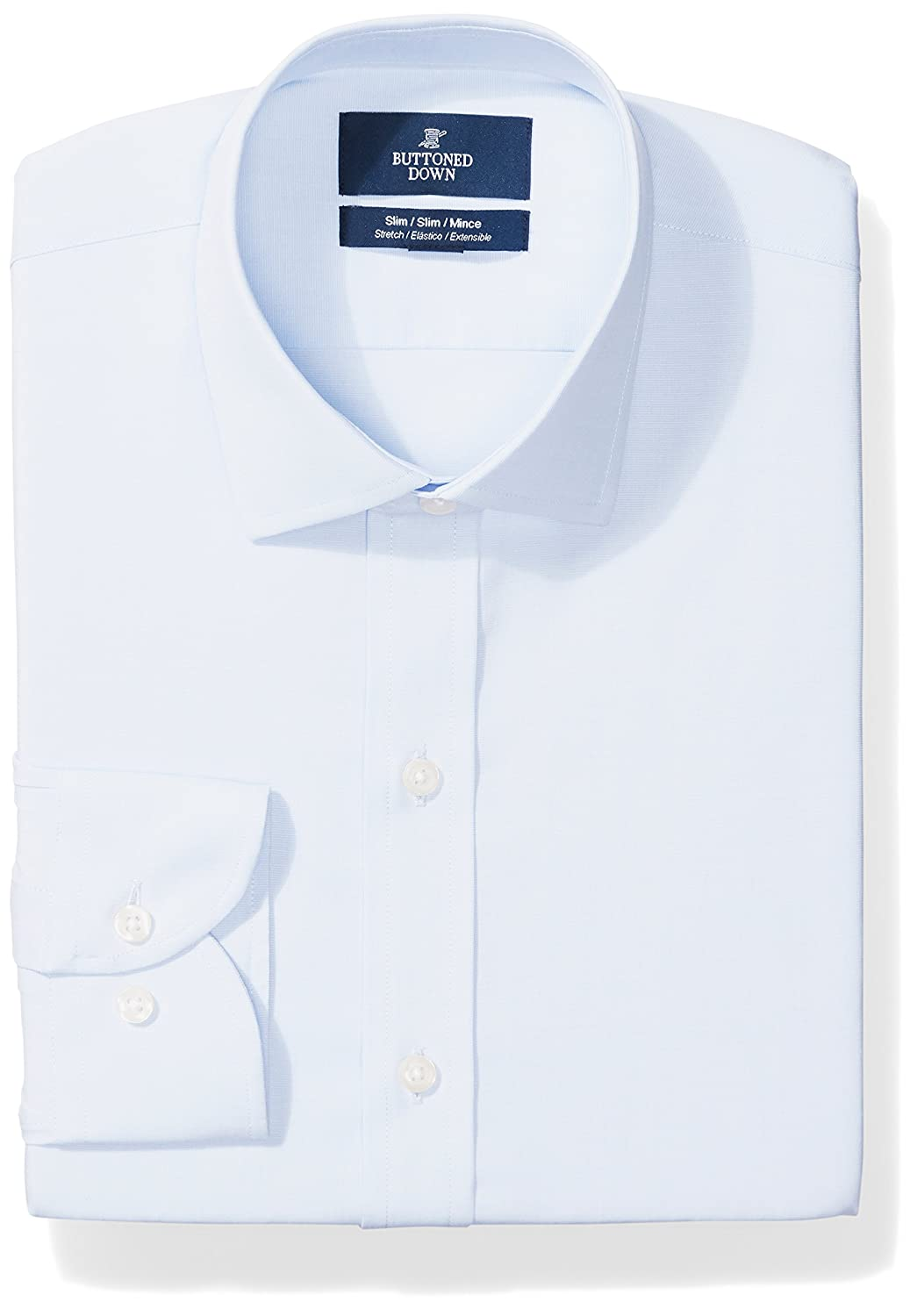 Buttoned Down Mens Standard Slim Fit Spread-Collar Stretch Non-Iron Dress Shirt MBD30023