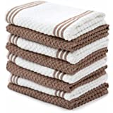 Sticky Toffee Cotton Terry Kitchen Dishcloth, Tan, 8 Pack, 12 in x 12 in