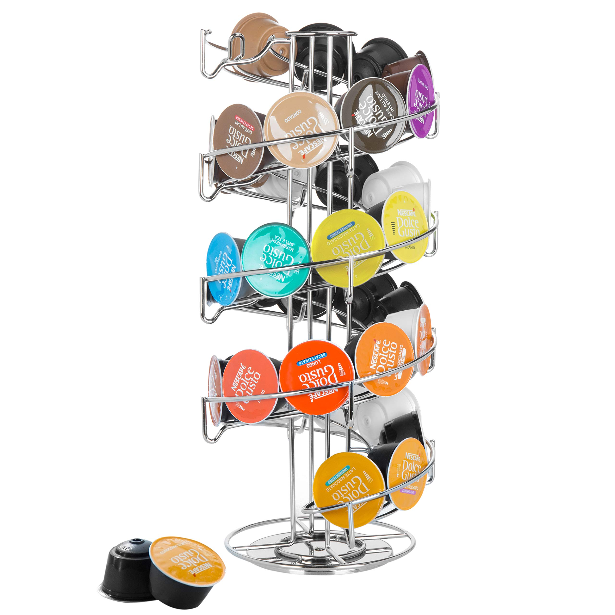 MyGift Rotating Chrome-Plated Wire Spiral Coffee Pod Dispenser
