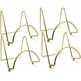 Brass Wire Easel Display Stand Plate Holders - Smooth Metal Footed - 3 Inch - Set of 4 Pcs - Ideal for Small Books, Pictures, Cards