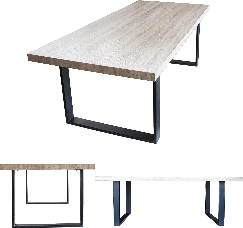 MOG Esszimmertisch 200x100 cm Kufentisch Holztisch Kufengestell Esstisch Tisch mit Tischplatte und Kufen alle Größen und Farben (Sanoma Eiche +