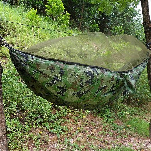 Hamaca con Mosquitera, Hamacas Colgantes para Viajes Hamacas Ligeras portátiles para Camping al Aire Libre para Jardín Patio, Capacidad Máxima 300kg, 260 × 140 cm (Camuflaje): Amazon.es: Jardín