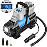 AUTOWN Tire Inflator, Air Compressor Pump, 12V Tire Pump with Air Flow up to 35L/min,4 Display Units,Preset Target Pressure Auto Shut-off, Extra Fuse for Overheat Protection and Progress Monitor