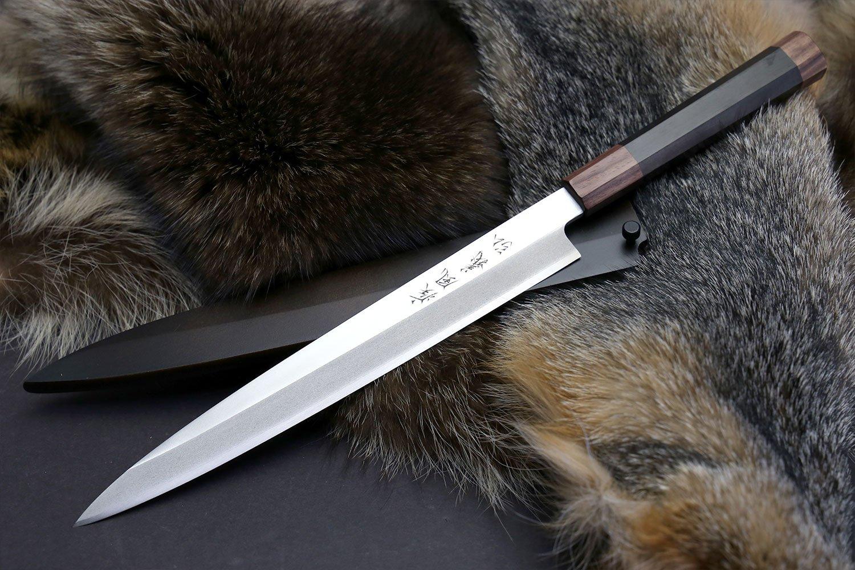 Yoshihiro Left-Handed Hongasumi VG Stainless Steel Yanagi Sushi Sashimi Japanese Knife Ebony wood Handle (10.5'') with Nuri saya Cover