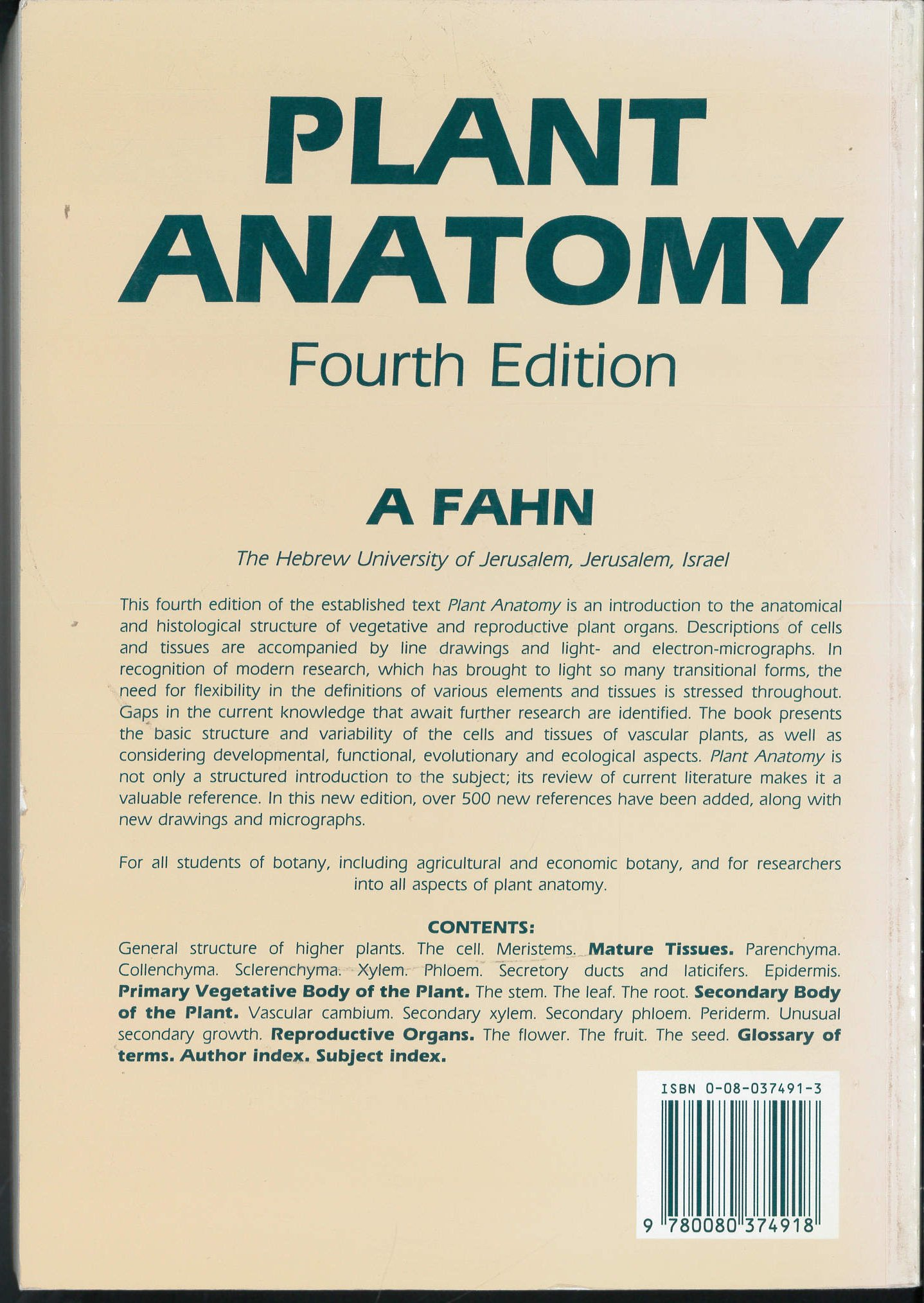 Plant Anatomy: Amazon.co.uk: A. Fahn: 9780080374918: Books