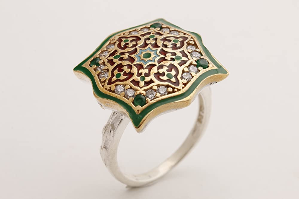 Handmade Women/'s Turkish 925 Fine Silver Wavy Emerald Ring with Cubic Ziconia US