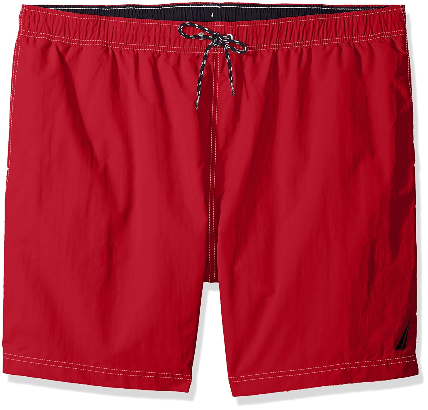 Nautica Mens Big-Tall Solid Quick Dry Classic Logo Swim Trunk