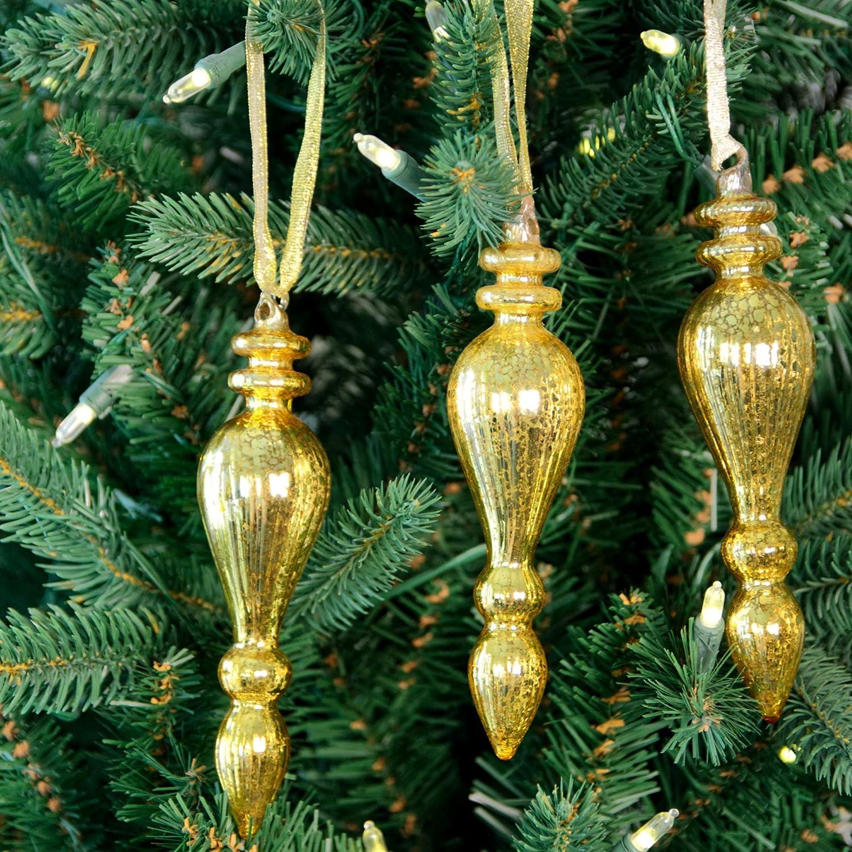 Glass Ornament Tear Drop Small Size Color GREEN 6 pcs