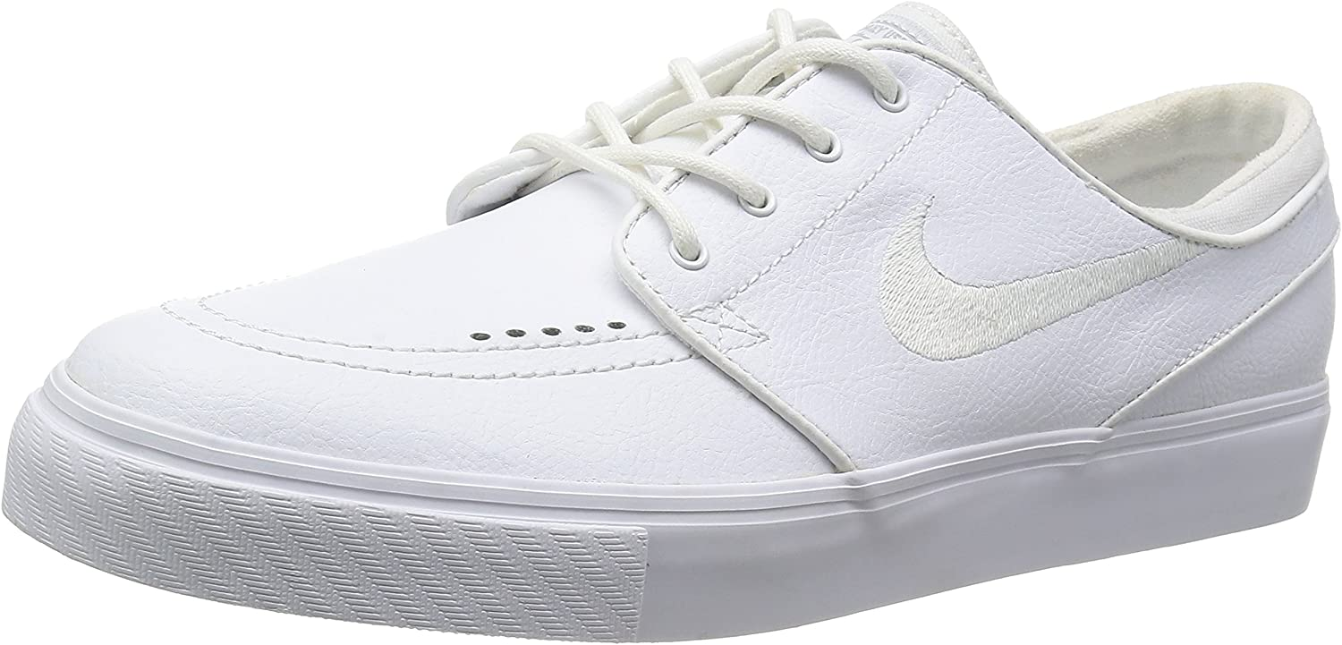 Nike Zoom Stefan Janoski Leather Skate Shoe - Mens White/White Wolf Grey, 11.0