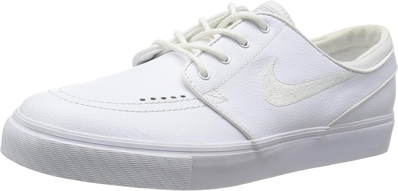 Nike Zoom Stefan Janoski Leather Skate Shoe - Mens White/White Wolf Grey, 11.0