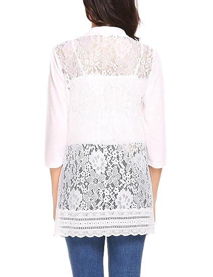 Venena Women 34 Sleeve Open Front Floral Lace Back Crochet Cardigan