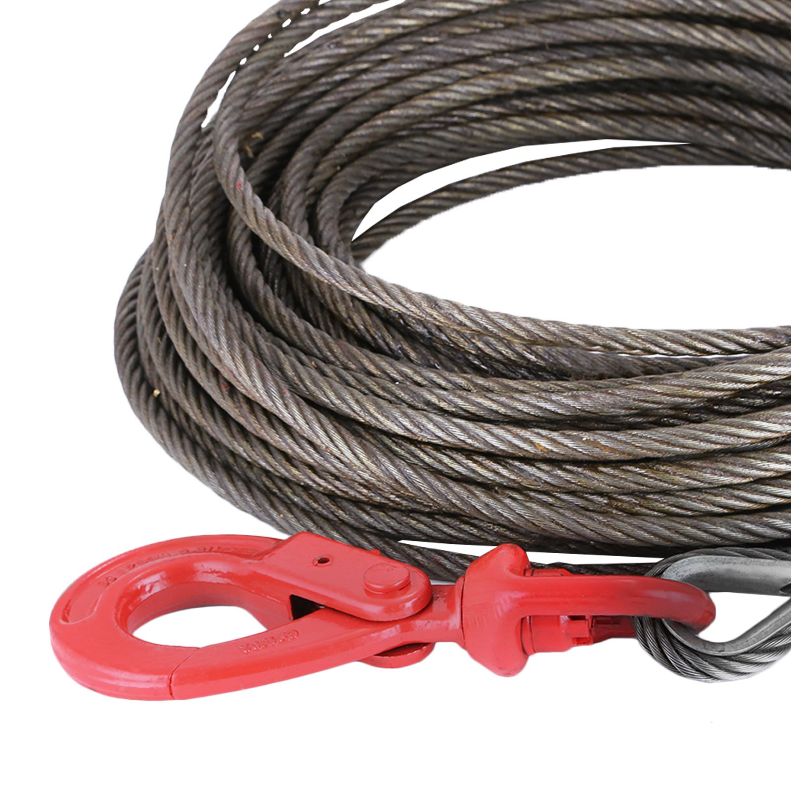 """LOVSHARE 3/8"""" 75 FT Wire Rope 2T Steel Core Winch Cable with Self Locking Swivel Hook Steel Cable for Tow Truck Flatbed (75 FT) by LOVSHARE (Image #9)"""