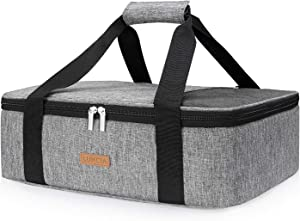 "LUNCIA Insulated Casserole Carrier for Hot or Cold Food, Lasagna Lugger Tote for Potluck Parties/Picnic/Cookouts, Fits 9""x13"" Baking Dish, Grey"