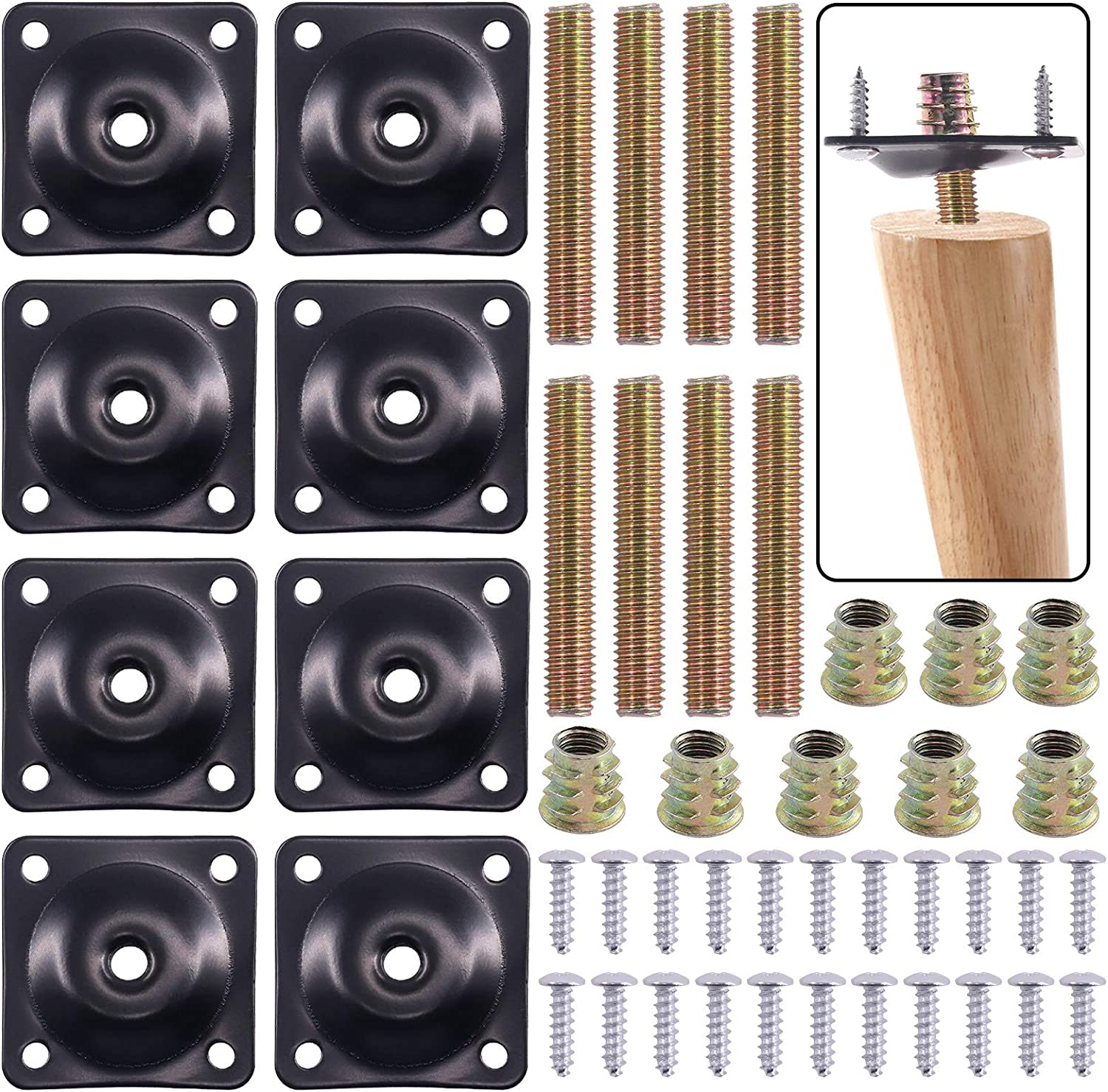 Swpeet 8 Sets Black 12 Degree Angled Leg Mounting Plates with Hanger Bolts Screws, Furniture Leg Attachment Plates Industrial Strength T-Plate M8 Sofa Legs with Hanger Bolts