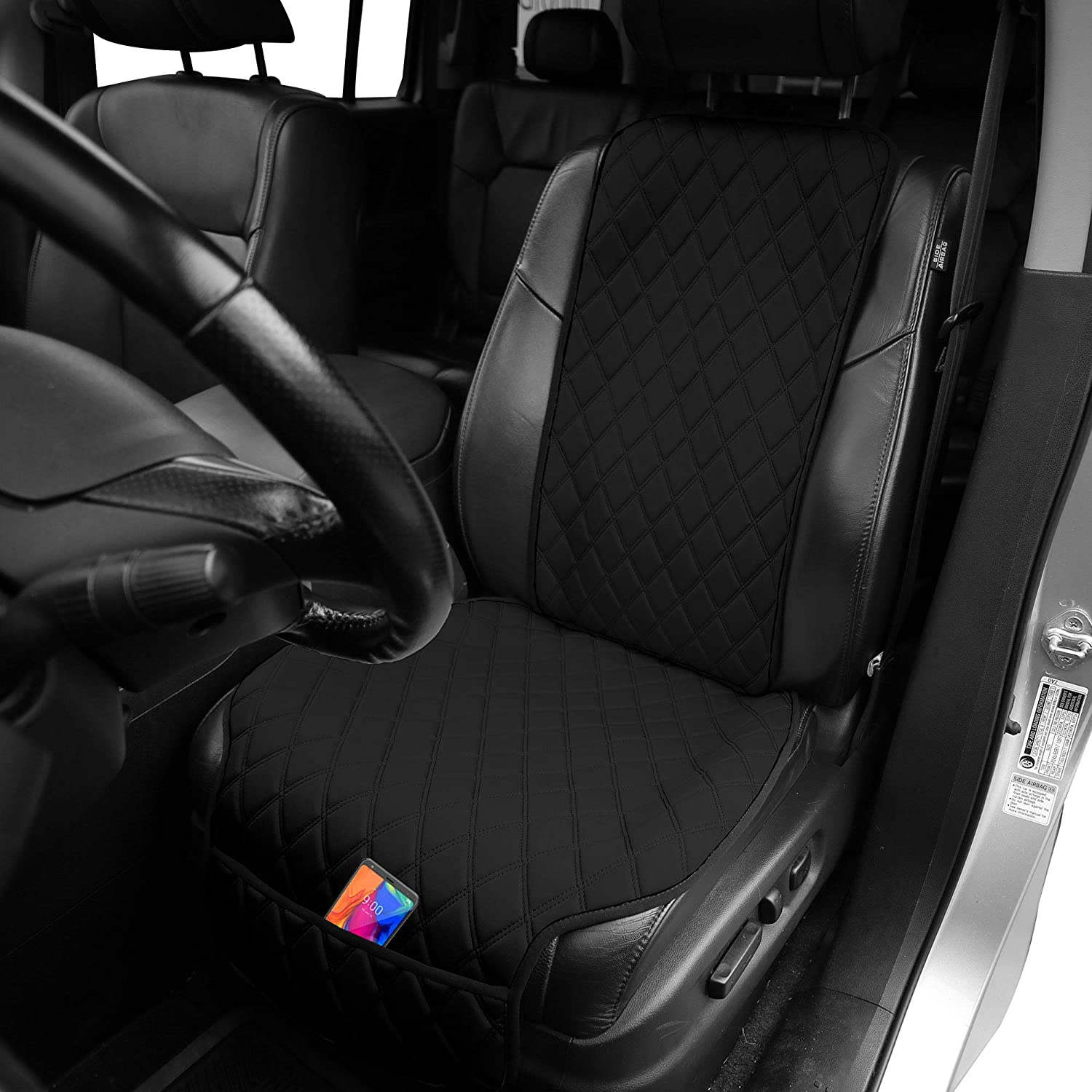 FH Group Car Front Seat Protector Water Resistant Air Bag Compatible, (One Cover) Neo Supreme Luxury Diamond Design Universal Seat Covers for Cars, Auto, Trucks, Vans & SUVs (Solid Black) - w. Gift