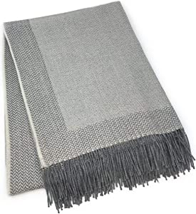 Alpaca Home | Incredibly Soft 100% Baby Alpaca Wool Sofa Throw Blanket - Woven by Hand, All Natural, Reversible Herringbone Pattern with Fringe Perfect for Bedroom or Living Room (Silver / Bone)
