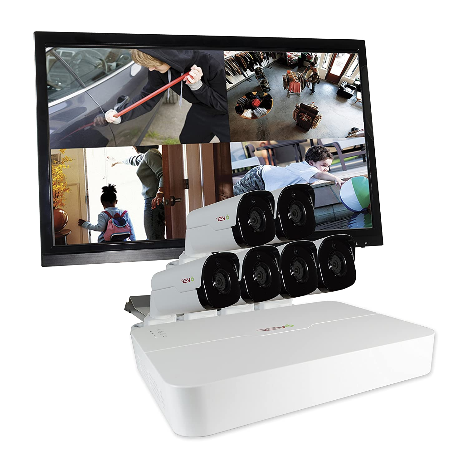 REVO America RU81B6GM22-2T Ultra HD 8-CH 2TB NVR Surveillance System with 6 x 4 Megapixel Bullet Cameras White