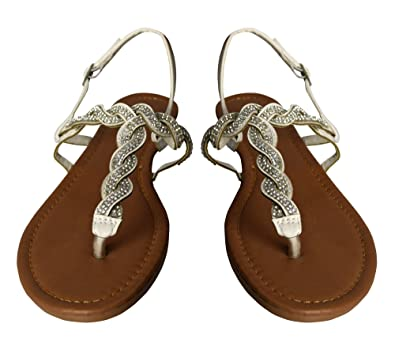 8dc787b133d11a Peach Couture Womens Rhinestone Accent Braided Strappy Summer Sandal with  Buckle (White 6)