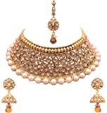 Sitashi 18 K Gold Plated Antique Rajwadi Fashion/Imitation Jewellery Stone Choker Necklace Set for Girls and Women for Wedding and Festivals