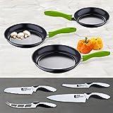 Set de utensilios de cocina: juego de sartenes en aluminio prensado ...